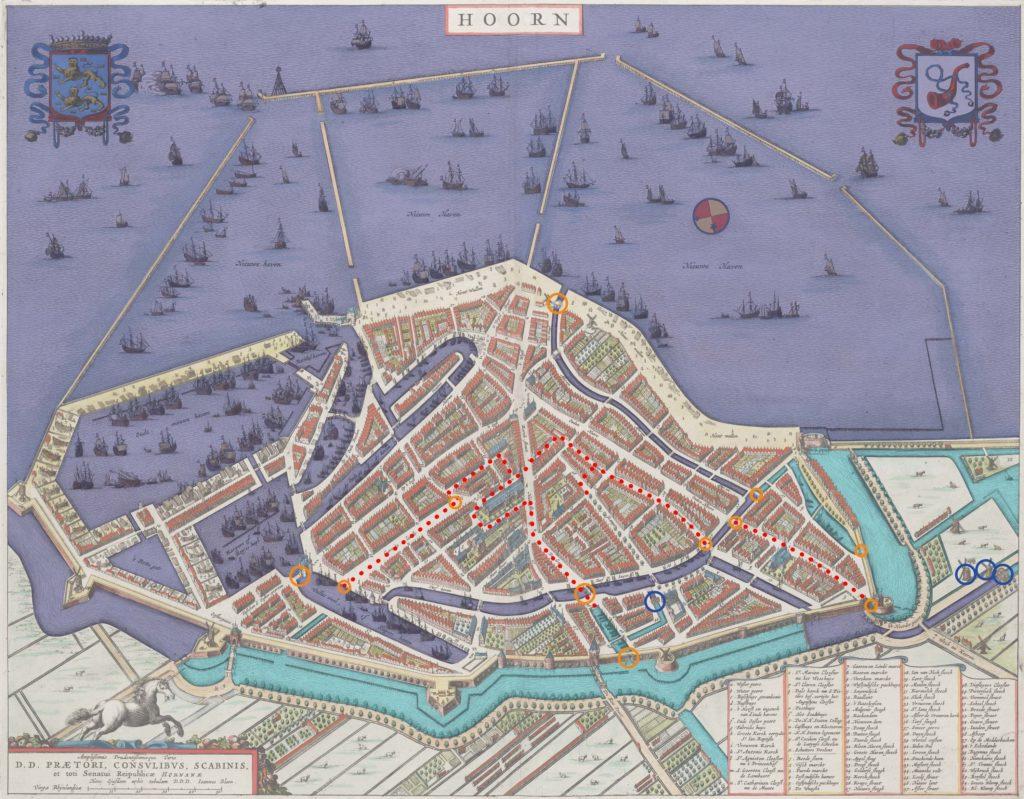 kaart van het watersysteem van 1649
